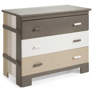 Commode et table à langer multicouleur contemporain en bois massif pin  L. 100 x P. 52 x H. 85 cm collection Kaynen