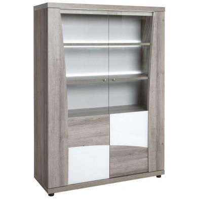 Argentier - vaisselier - vitrine design blanc moderne en bois mdf L. 120 x P. 47 x H. 170 cm  collection Guertin