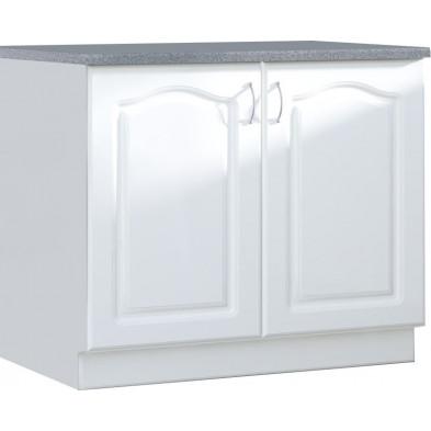 Meuble bas de cuisine style contemporain avec 2 portes coloris blanc Façade bois MDF  + Caisson en panneaux de particules L. 100 x P. 60 x H. 82 cm collection Dingman