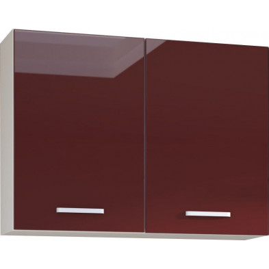 Meuble haut de cuisine design 2 portes coloris blanc mat et rouge laqué Finition façade : laqué haute brillance + Caisson en panneaux de particules 16mm recouverts de mélaminé  L. 100 x P. 30 x H. 72 cm collection Carlsbad