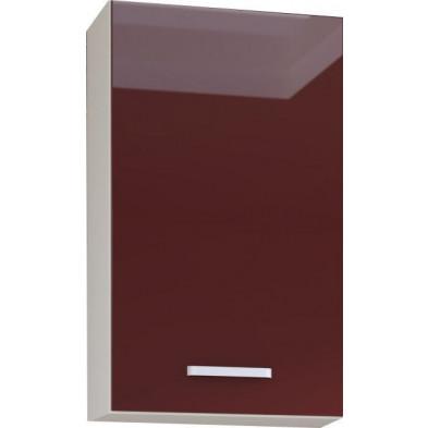 Meuble haut de cuisine design 1 porte coloris blanc mat et rouge laqué  L. 40 x P. 30 x H. 72 cm collection Carlsbad