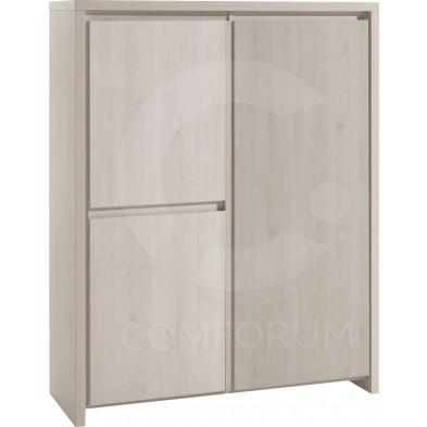 Argentier - meuble bar marron contemporain en panneaux de particules mélaminés de haute  L. 126 x P. 50 x H. 161 cm  qualité collection Halley