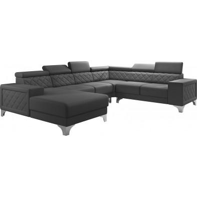 Canapés d'angle gris moderne en pvc 6 places L. 325-260-180 x P. 96 x H. 87-107 cm collection LUGANO