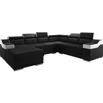 Canapés d'angle noir design en pvc 6 places . 325-260 x P. 95-96 x H. 82-102 cm collection MIAMI