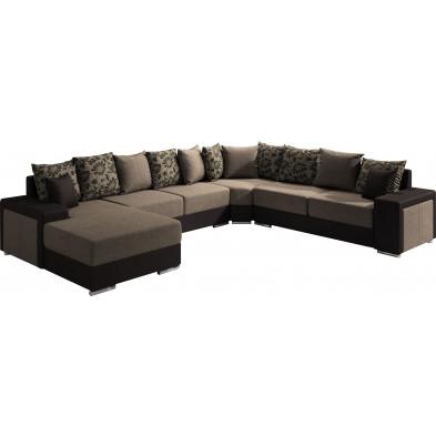 Canapés d'angle marron moderne en bois massif 6 places L. 175-355-280 x P. 91-104 x H. 75 cm collection NOUMA