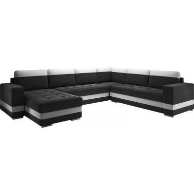 Canapés d'angle convertibles et réversible noir design en acier 6 places L. 339-258 x P. 82 x H. 75-80 cm collection ELENA