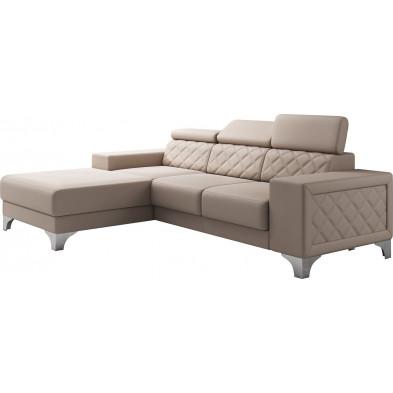 Canapés d'angle beige moderne en pvc 3 places L. 255-180 x P. 94-96 x H. 82-102 cm collection LUGANO