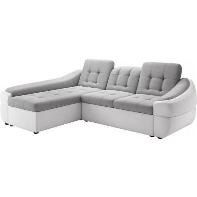 Canapés d'angle blanc design en bois massif 3 places L. 220-190 x P. 100-110 x H. 79-87 cm collection DIVANI