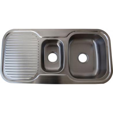 Évier cuisine à encastrer 2 bacs 101X50 cm en acier inoxydable brossé collection Elizabethton