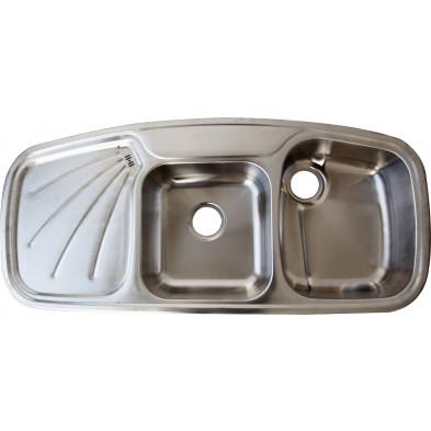 Évier cuisine à encastrer 2 bacs 116x51 cm en acier inoxydable brossé collection Elizabethton