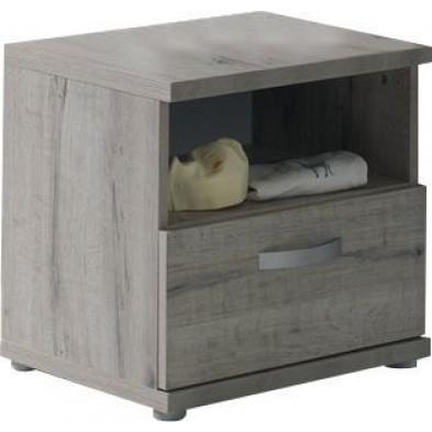 Chevet bébé gris moderne en panneaux de particules mélaminés de haute qualité  L. 50 x P. 40 x H. 48 cm collection Devreugd