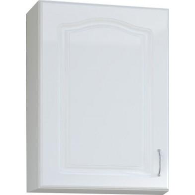 Meuble haut de cuisine style contemporain  1 porte coloris blanc L. 60 x P. 30 x H. 72 cm collection Dingman