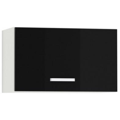 Meuble haut de cuisine design pour hotte avec 1 porte horizontale coloris blanc mat et noir laqué L. 60 x P. 30 x H. 36 cm collection Bayton