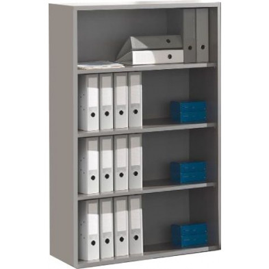 Meuble étagère gris moderne en panneaux de particules mélaminés de haute qualité L. 90 x P. 45 x H. 146,4 cm collection Therrien