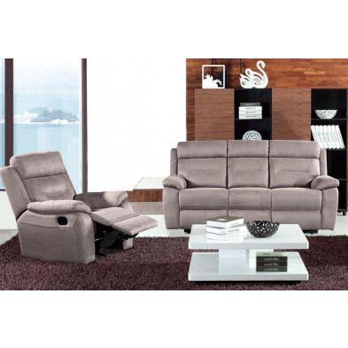 Fauteuil moderne gris contemporain en tissu 2 places  L. 95 x P. 91 x H. 99 cm collection Carillo