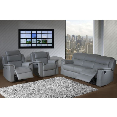 Canapé  relax gris contemporain en cuir 3 places L. 203 x P. 95 m x H. 87 cm collection Rothest