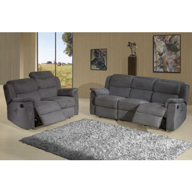 Fauteuil gris contemporain en tissu 1 place L. 94 x P. 95 x H. 87 cm collection Donim