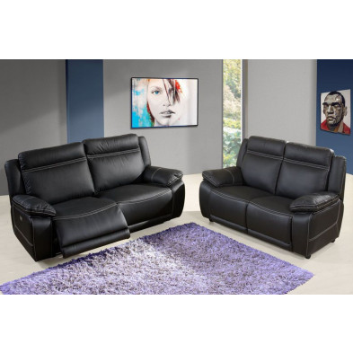 Canapé relax noir contemporain en cuir 3 places L.207. x P.79 x H. 97 cm collection Apelacao