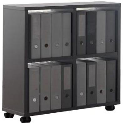 Meuble étagère gris design en panneaux de particules mélaminés de haute qualité L. 78 x P. 35 x H. 83,2 cm collection Inscribe