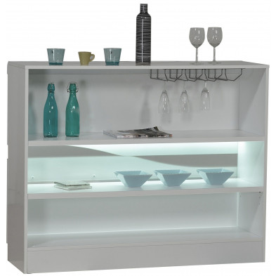 Meuble bar blanc design L. 125 x P. 38 x H. 100 cm collection Lotenhulle