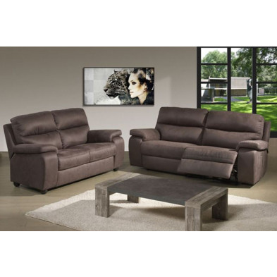 Canapé relax marron contemporain en tissu 3 places  L. 214 x P. 94 x H. 96 cm collection Fundoes