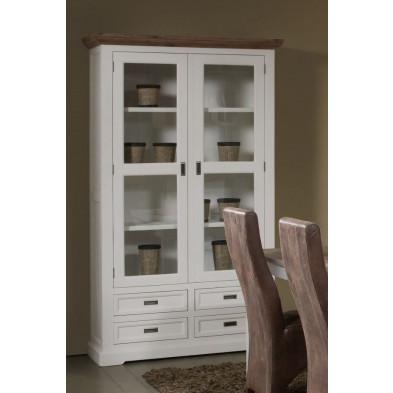 Argentier - vaisselier - vitrine en bois massif blanc contemporain L. 124 x P. 48 x H. 210 cm collection Invite