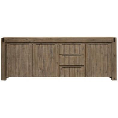 Buffet - bahut - enfilade marron contemporain en bois massif acacia L. 230 x P. 50 x H. 91 cm  collection Issaw
