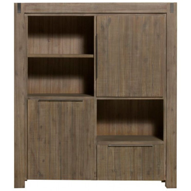 Argentier - meuble bar marron contemporain en bois massif acacia L. 140 x P. 45 x H. 160 cm  collection Issaw
