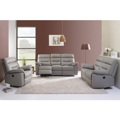 Ensemble canapés marron contemporain en  cuir 6 places L. 203/160/95 x P. 90 x H. 102 cm collection Grabow