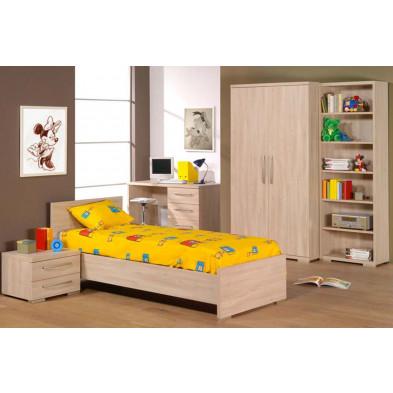 Pack chambre enfant contemporain beige en panneaux de particules mélaminés + décors papier 90 x 200 cm Collection Staley