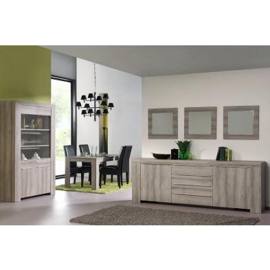 Argentier - meuble bar marron contemporain en  panneaux de particules L. 136 x P. 48 x H. 160 cm  collection Okarche