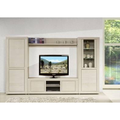 Argentier - vaisselier - vitrine  blanc contemporain en bois massif chêne  L. 68 x P. 48 x H. 182 cm collection Ciminna
