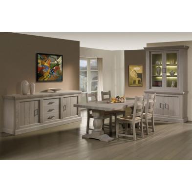 Argentier - vaisselier - vitrine gris contemporain en bois massif  L. 130 x P. 52 x H. 232 cm  collection Flee