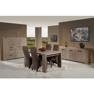 Argentier - meuble bar en bois massif gris contemporain  L. 160 x P. 46 x H. 148 cm ollection Llannerch collection