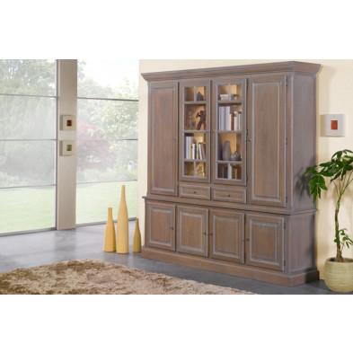 Argentier - vaisselier - vitrine en bois massif gris classique L. 188 x P. 50 x H. 237 cm collection Dokkum