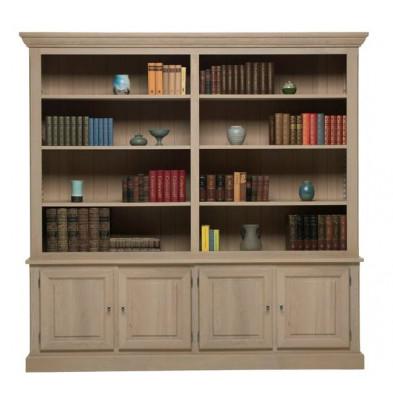 Argentier - vaisselier - vitrine gris classique en bois massif L. 244 x P. 50 x H. 237 cm collection Dokkum