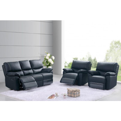 Canapé relax noir contemporain en cuir 2 places L. 144 x P. 93 x H. 100 cm collection Albairate