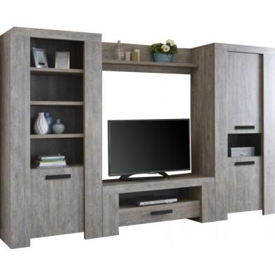 Ensemble meuble tv gris contemporain en panneaux de particules de haute qualité 300 cm de largeur collection Sinn