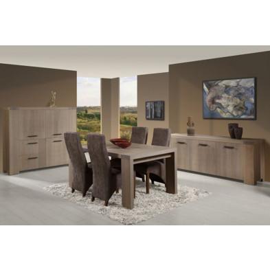 Salle à manger complète contemporaine gris en bois massif et panneaux de particules Collection Llannerch