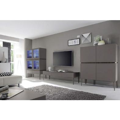 Composition salon avec éclairage design gris en panneaux de particules de haute qualité Collection Shanne