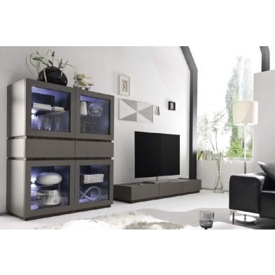 Argentier - vaisselier - vitrine gris design en panneaux de particules de haute qualité L. 123 x P. 51 x H. 204 cm collection Shanne