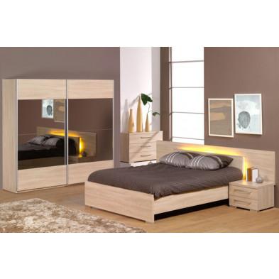 Pack chambre à coucher adulte contemporain beige en panneaux de particules mélaminés et décors papier 140 x 200 cm Collection Staley