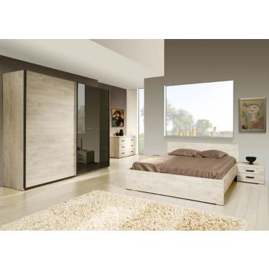 Pack chambre à coucher adulte contemporaine coloris chêne en panneaux de particules et papier décors 140 x 200 cm Collection Disagreeable