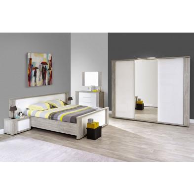 Pack chambre à coucher adulte contemporaine blanc en panneaux de particules de haute qualité et papier décor Collection Warunn