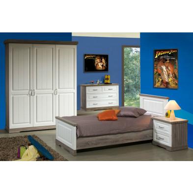 Pack chambre enfant contemporaine blanc en panneaux de particules et papier décor 90 x 200 cm Collection Statesboro