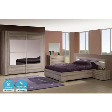 Pack chambre à coucher adulte contemporain marron en panneaux de particules mélaminés 140 x 200 cm Collection Mackey
