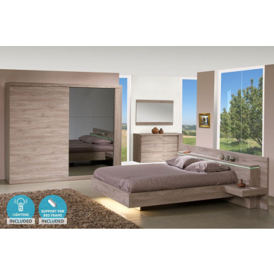 Pack chambre à coucher adulte contemporain coloris chêne en panneaux de particules et décors papier 140 x 200 cm Collection Breet