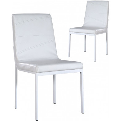 Lot de 2 Chaises de salle à manger moderne Blanc Design L. 46 x P. 59 x H. 89 cm collection Giddy
