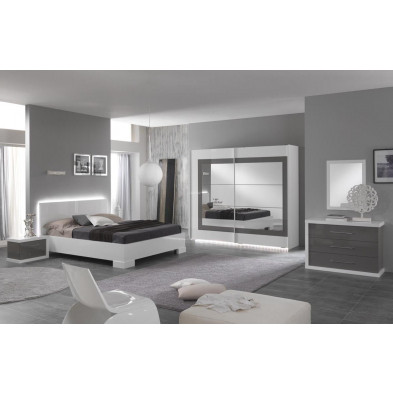 Packs chambre à coucher adulte blanc design en 160 x 200 cm collection Anapaola