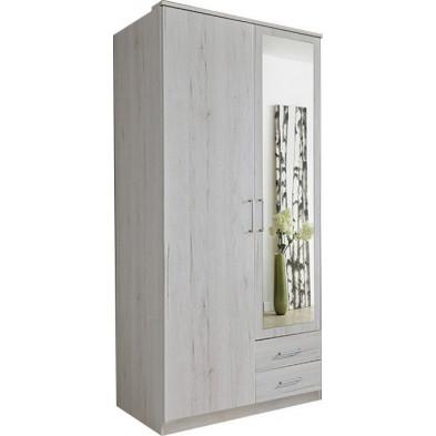 Armoire adulte blanc contemporain en panneaux de particules de haute qualité L. 90 x P. 58 x H. 199 cm collection Lever